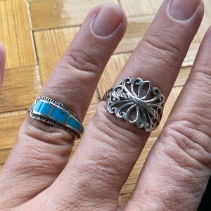 Two sterling silver rings, 1 vintage turquoise!